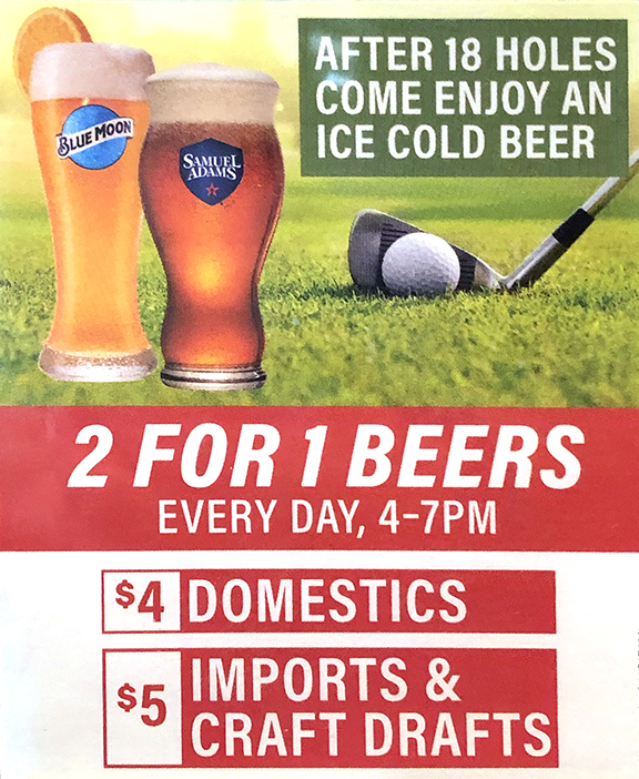 2 FOR 1 BEERS – Every Day, 4-7pm