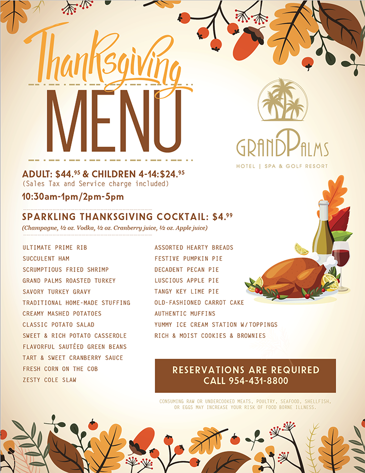 Thanksgiving  Feast Nov. 28th, 2019 – 10:30am-1pm & 2pm-5pm