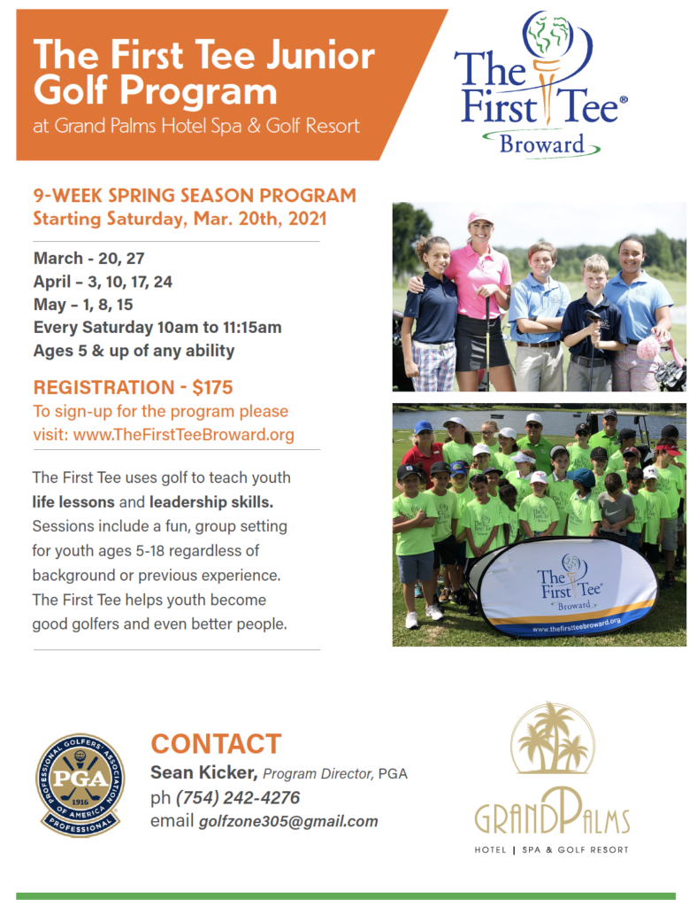 The First Tee Junior  Golf Program – WINTER SEASON STARTS Jan. 16th 2021